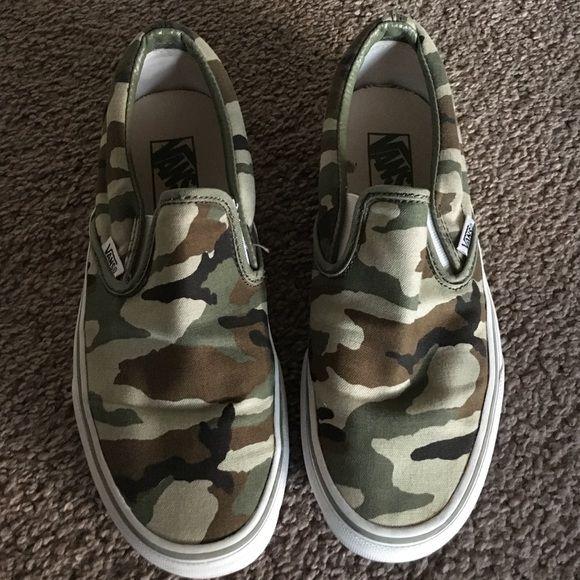 Army print slip on vans! | Army print