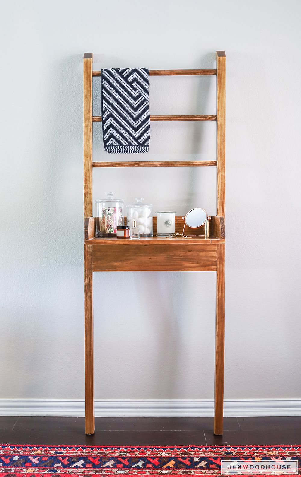Leaning Bathroom Shelf | Shelves, Woodworking and DIY ideas