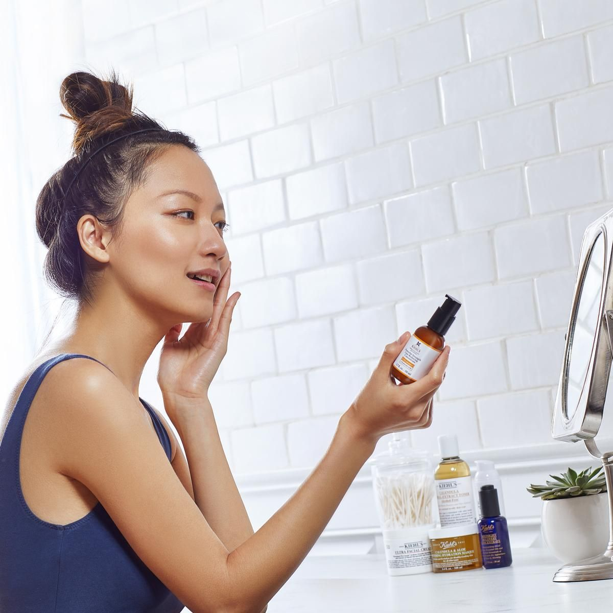 Apply a Vitamin C serum to nourish skin with healthy antioxidants. Safe to use for morning and night, Kiehl's Powerful-Strength Line-Reducing Concentrate improves all-over skin health with 12.5% Vitamin C.