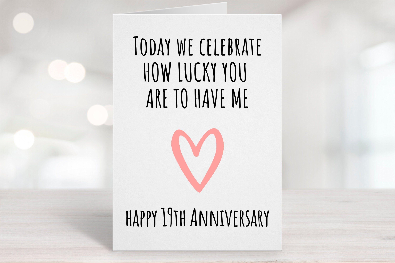 Printable Anniversary Card 19th Anniversary Card Nineteenth Etsy In 2020 Anniversary Cards Printable Anniversary Cards Birthday Card Printable