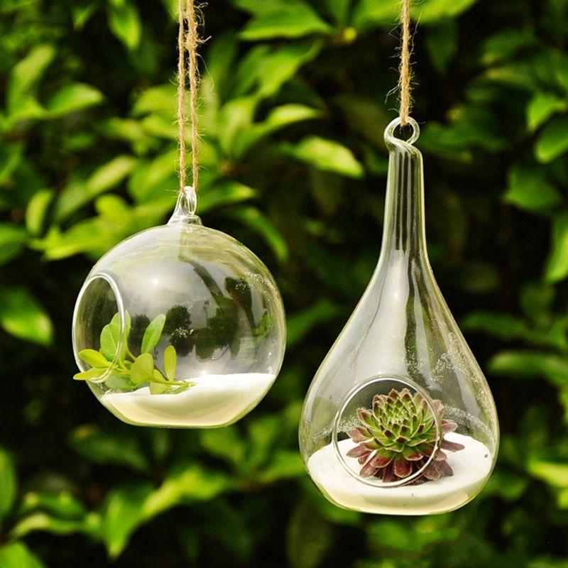 Pas Cher Forme De Boule Suspendus Vase En Verre Fleur