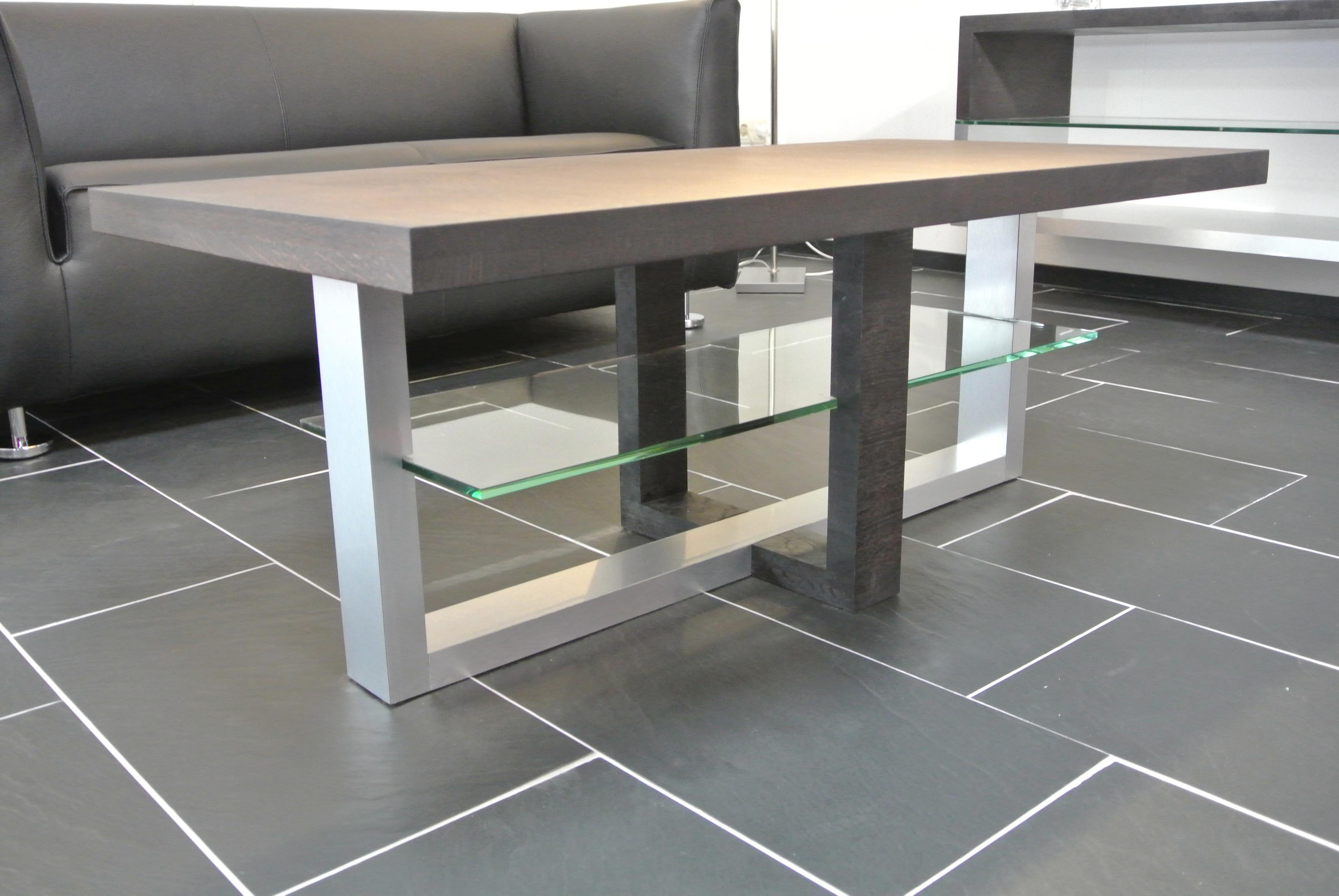 Glazen Meubels ~ Eiken salon tafel met aluminium en een glazen onderblad meubels