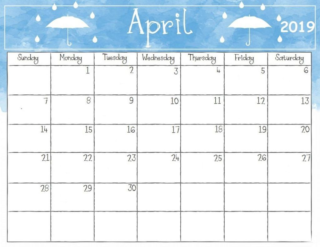 Cute April 2019 Calendar Monthly Calendar Template Free Download