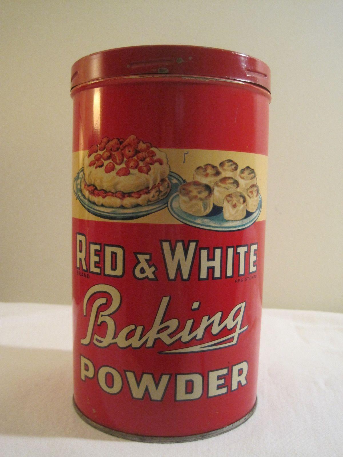 Vintage Red White Baking Powder 3lb Screw Top Tin Can