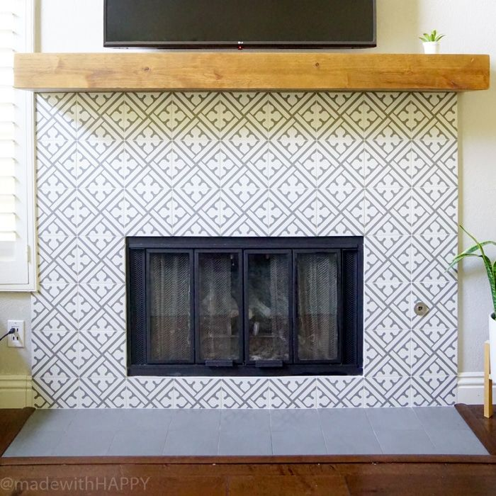 Modern Fireplace Makeover Just Like Cement Tile But Portuguese Ceramic Grey And White Patterned Rustic Mantel