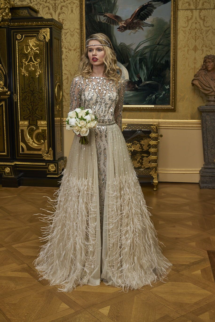 Stunning Beaded Wedding Dress Featuring Long Sleeves And A Slim Skirt With A Detachable Overskirt W Wedding Dress Sequin 1920s Wedding Dress Gold Wedding Dress