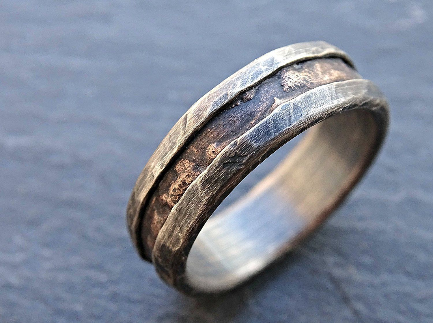 Cool Mens Ring Bronze, Unique Wedding Band Bronze Silver, Mens Wedding  Band, Mens