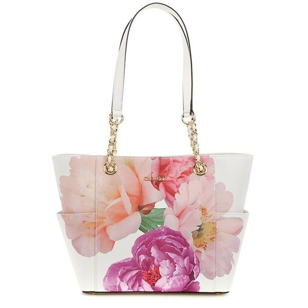 0428e2b485 Calvin Klein Flower-Print Tote ($178) ❤ liked on Polyvore featuring bags,  handbags, tote bags, floral purse, calvin klein handbags, calvin klein tote  bag, ...