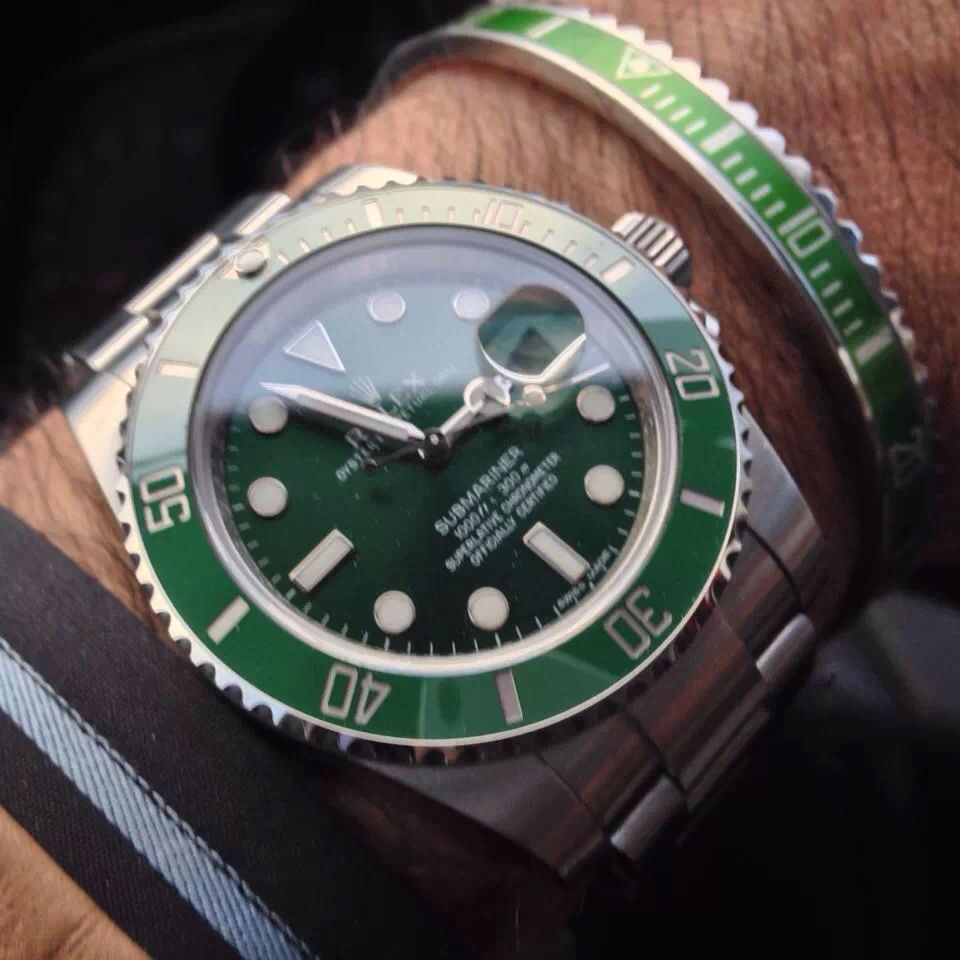 Green Rolex With Cool Bezel Bracelet