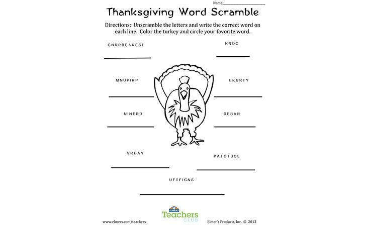 Thanksgiving Word Scramble Free Printable Unscramble The Letters