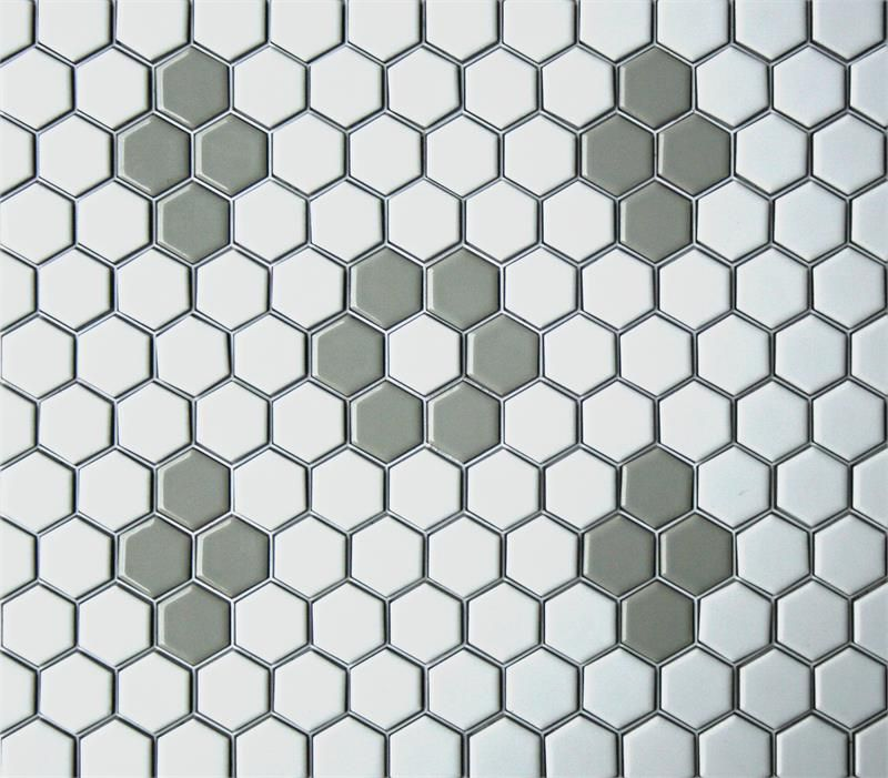 Lyric 1 X 1 Glazed Porcelain Mosaic Hex Tile Pattern In Rosette And Quad Hexagonal Mosaic Hex Tile Glass Tile Design