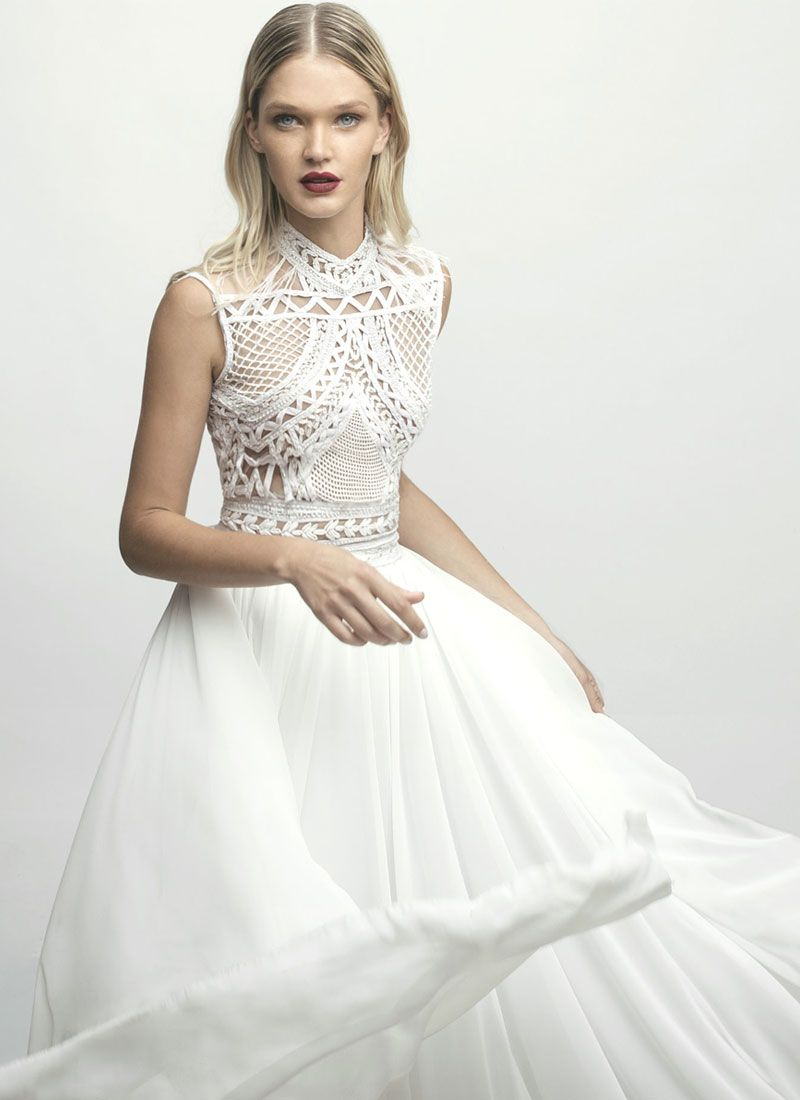 Lior Charchy NYC 2017 Bridal Sleeveless high neck heavy embellishment top floating skirt a line wedding dress #weddingdress #wedding #weddinggown #bridedress