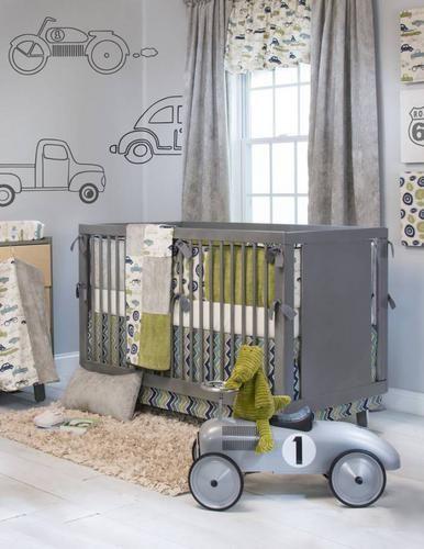 Baby Boy Cribs: Uptown Traffic 4 Piece Baby Crib Bedding Set With Bumper
