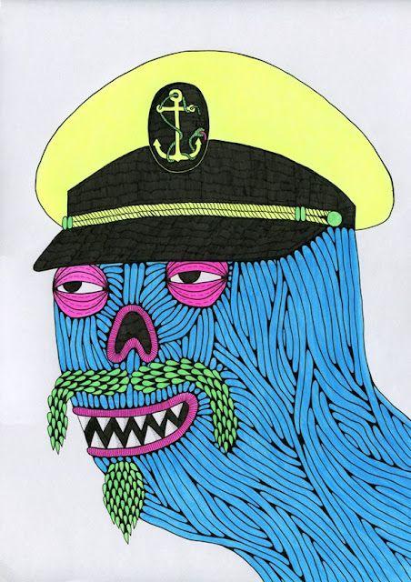 © Mulga 2012, Captain Crook the Shady Zombie Captain, Ink and texta on Paper, 30 x 42 cm    http://mulgasroom.blogspot.com.au/2012/03/captain-crook-shady-zombie-captain.html