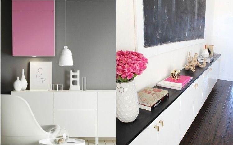 Ikea Besta Regal in monochromen Farben -mit Deko in Pink - ikea wohnzimmer wei