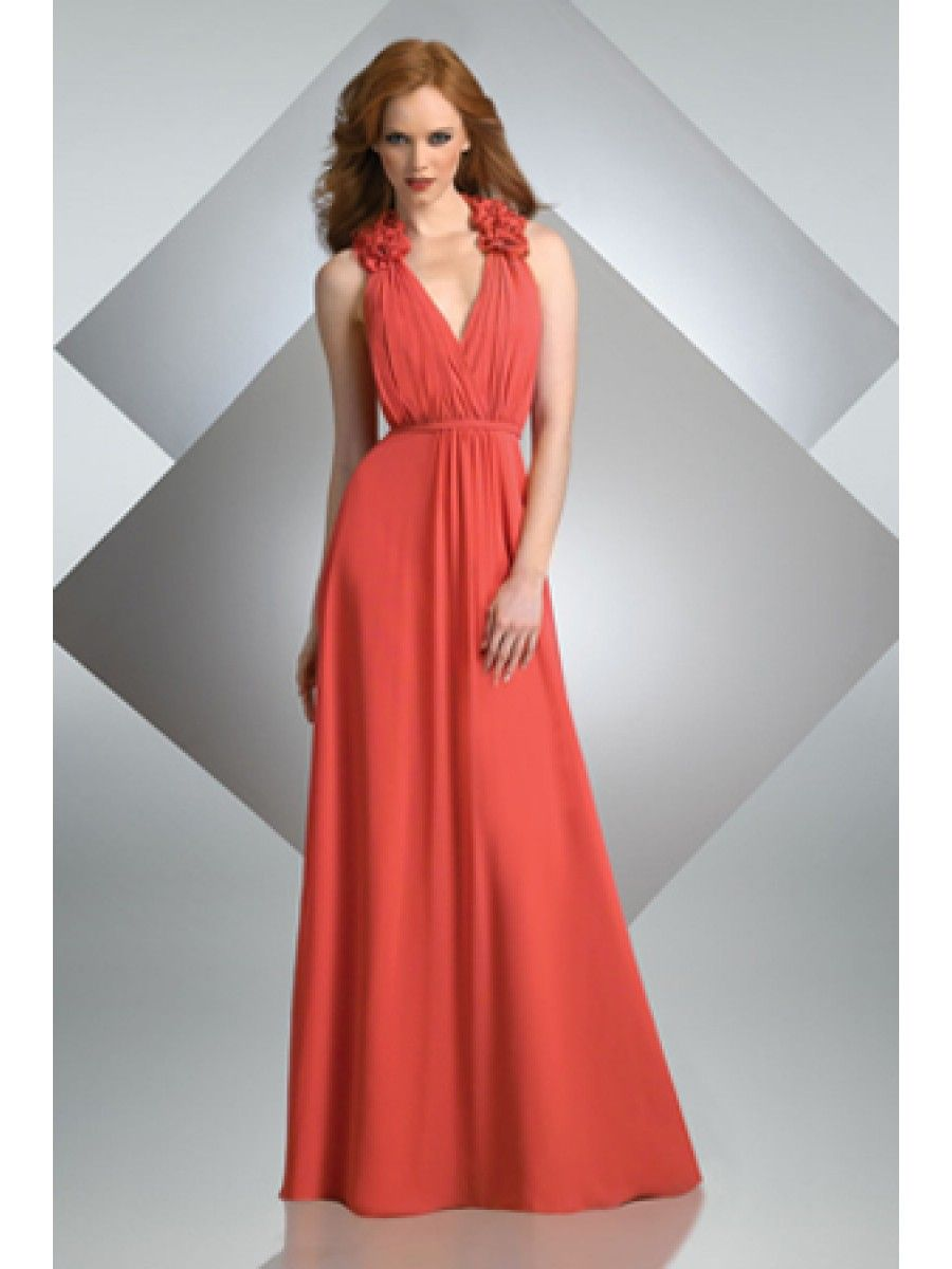Modest Red V-neck Long Chiffon Bridesmaid Dresses Evening Dresses ...