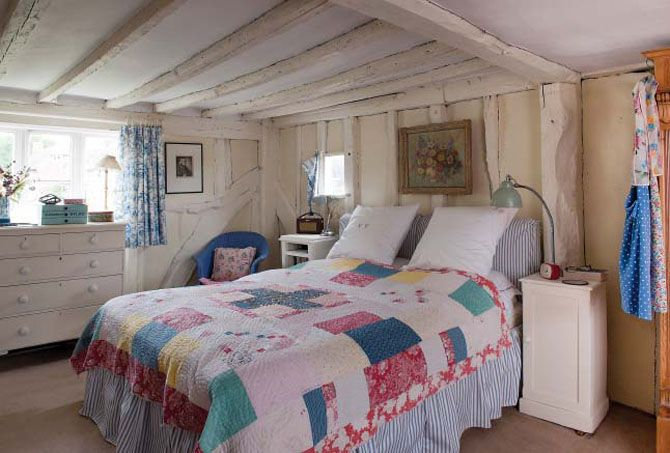 English Country Cottage Bedroom With Patchwork Throw