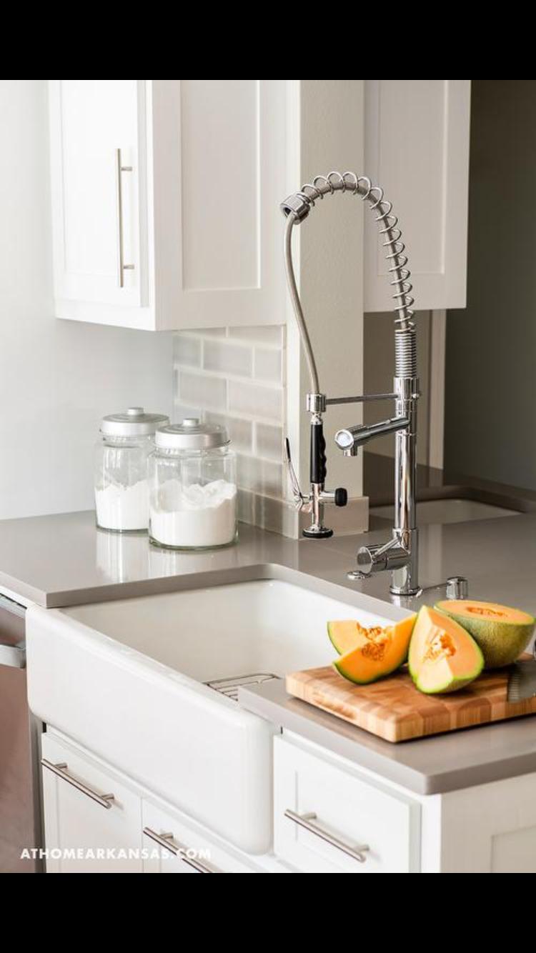 Gray glass subway tiles quartz countertop farmhouse sink  white cabinets home decor pinterest and also