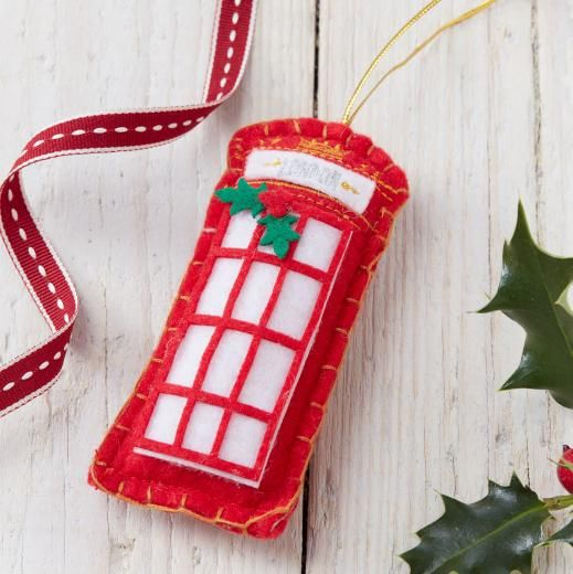 Box Decorations British Felt Telephone Box Decoration  Ornamentos Pinterest