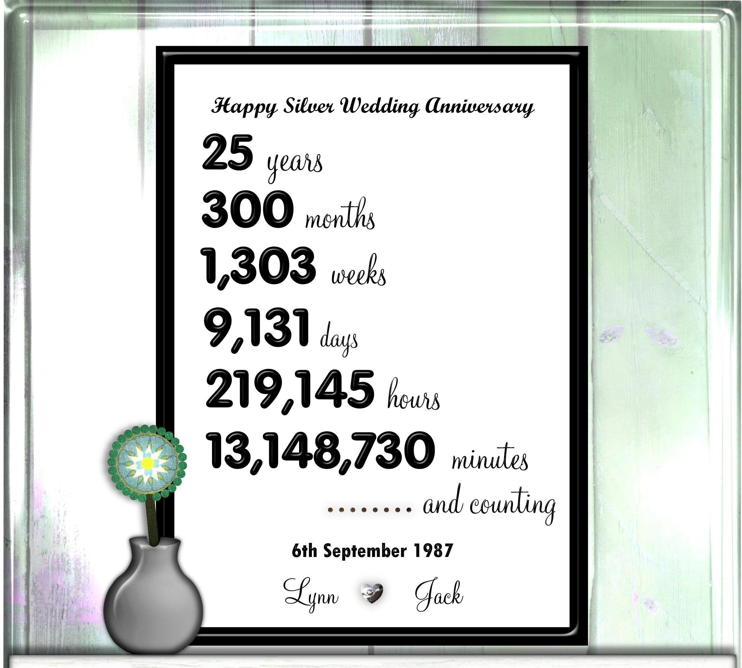 25th Anniversary Print Personalised Silver Wedding Gift 25 Etsy In 2020 Silver Wedding Anniversary Gift Anniversary Sign Silver Wedding Anniversary