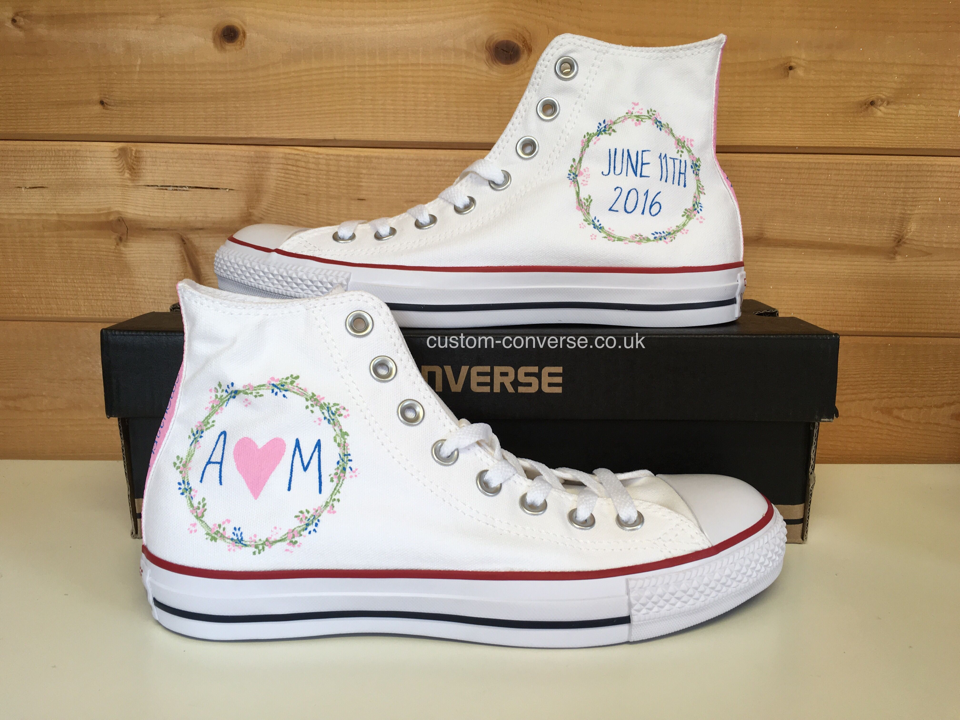 ee4697ab74cd Floral Wedding Converse with date and initials  weddingconverse ...