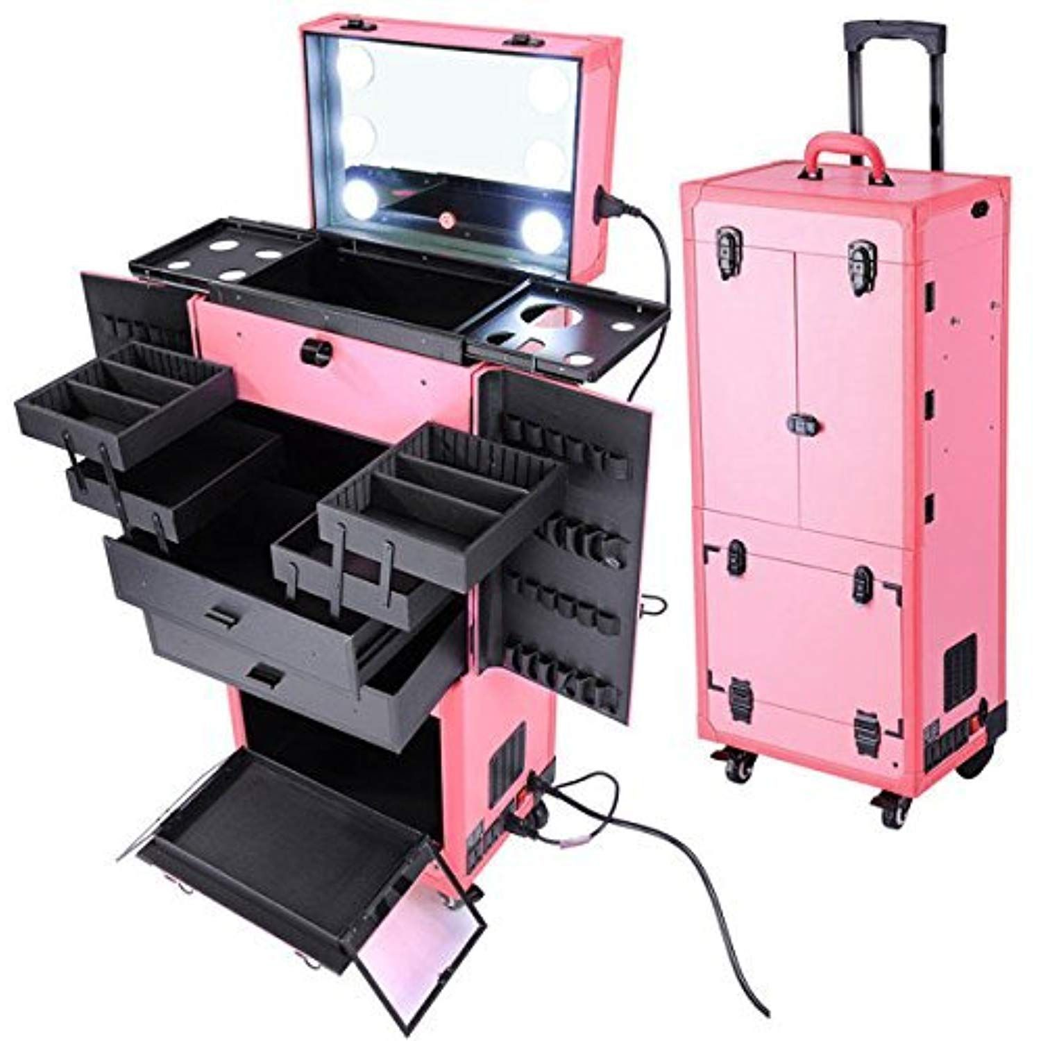 Leemas Inc Professional Artist Rolling Makeup Cosmetics Case W Led Lights And Mirror Drawers Trolley Box Trav Makeup Artist Kit Rolling Makeup Case Makeup Case