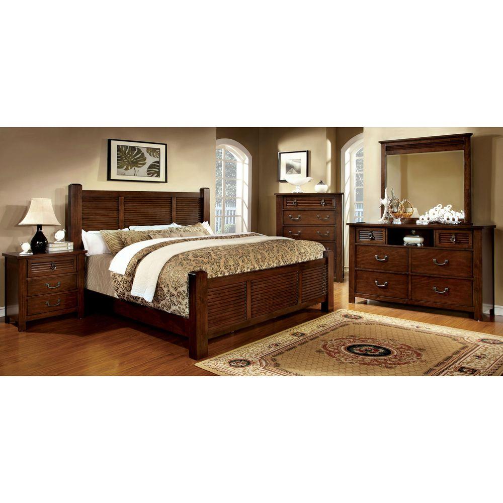 Furniture of America Erindale 4Piece Brown Cherry Bedroom
