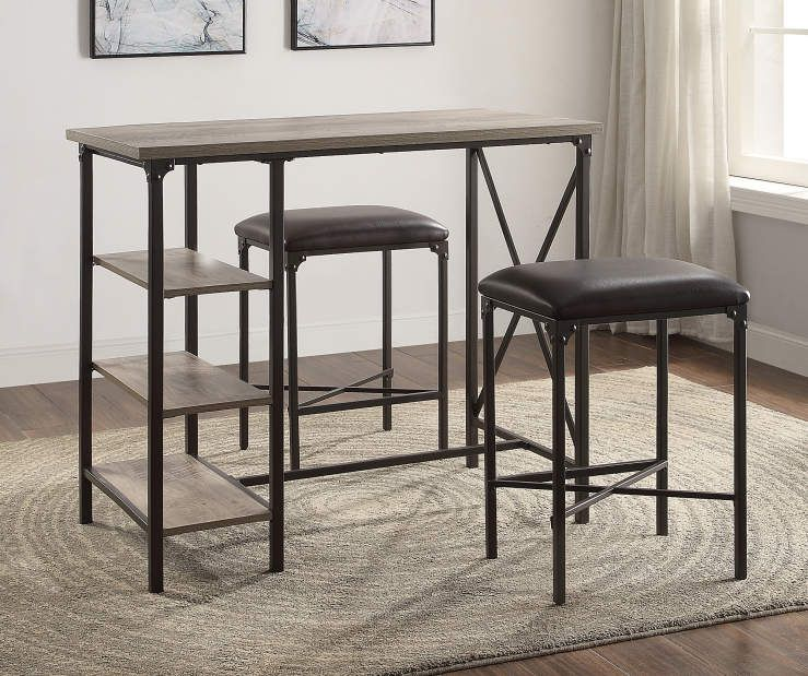 Rustic Table Stools 3 Piece Counter Bar Set Big Lots Dining Table In Kitchen Table Stool Rustic Table