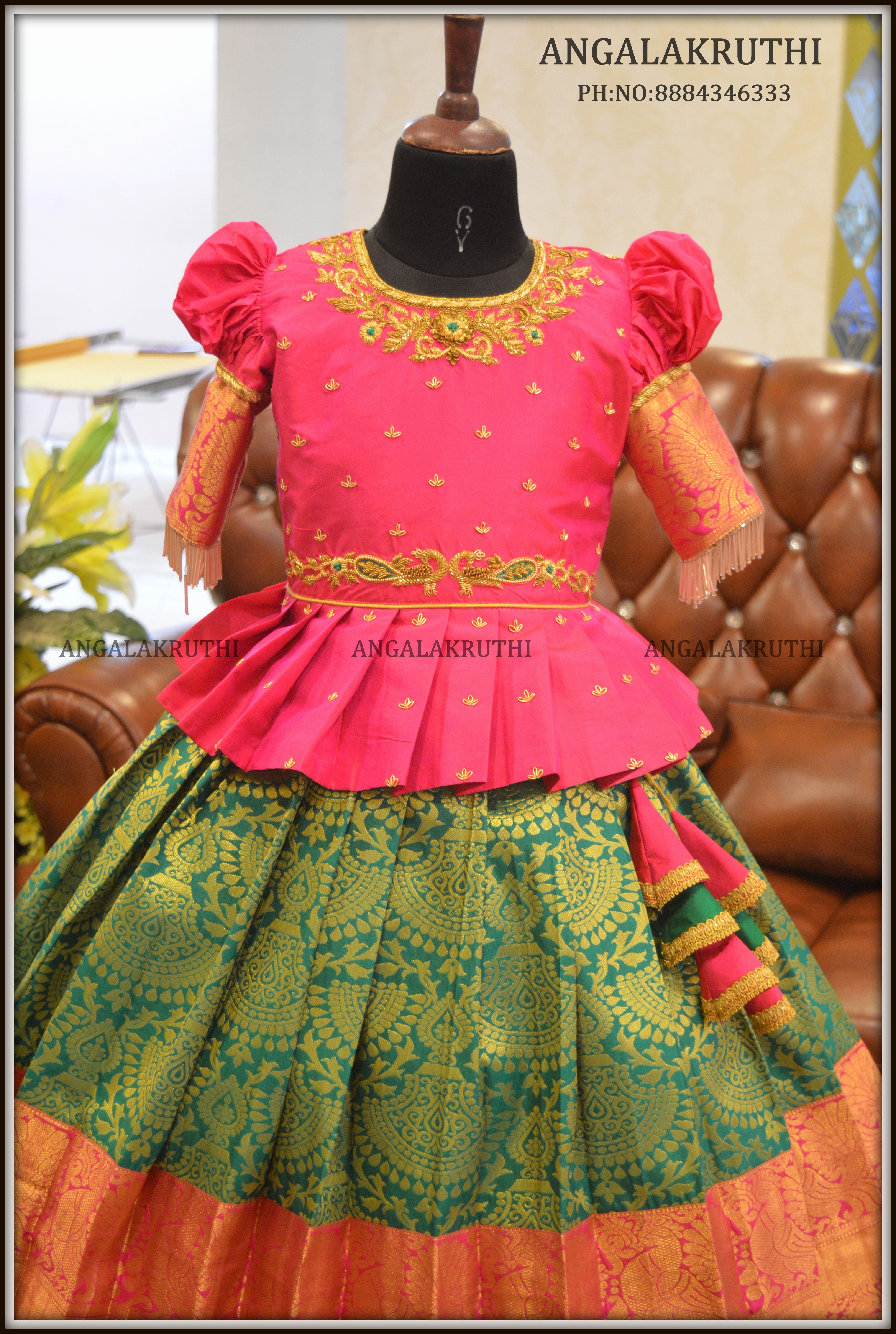 Maggam Work Blouse For Kids Pattu Pavada Kids Blouse Designs Kids Designer Dresses Kids Dress Patterns