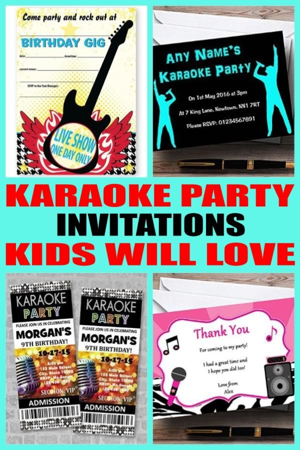 Karaoke Party Invitations | Karaoke party, Party invitations and ...