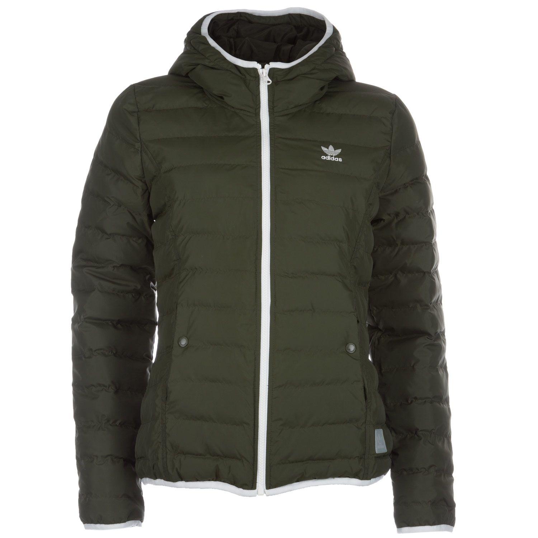 Adidas Women's Slim Jacket khaki | Jackets, Ladies coat