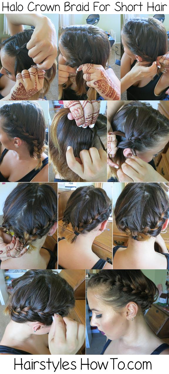 Halo Crown Braid Tutorial for Short Hair | Hair Tutorials ...