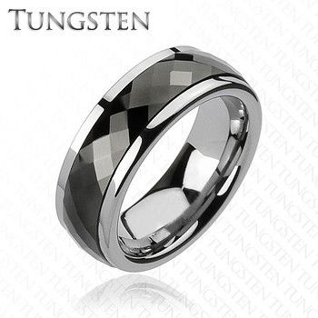 Black Tungsten Spinner Multi Faceted Silver and Black Tungsten