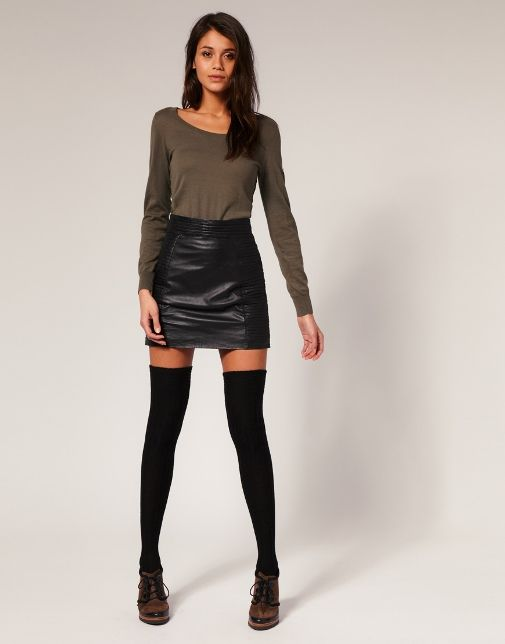 Leather Mini Skirt & Thigh Highs | Fashion | Pinterest | Leather ...