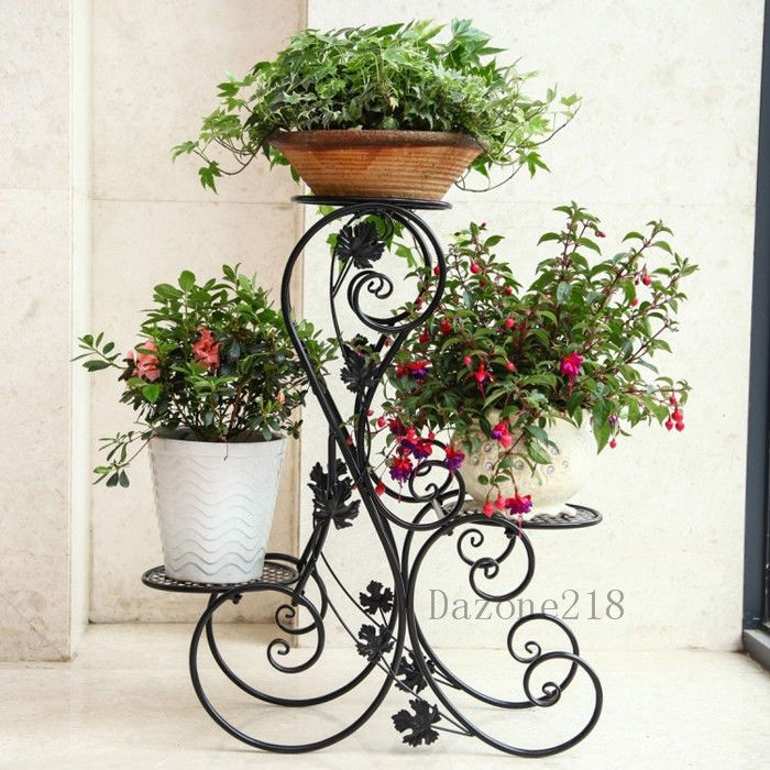 Ornamental Metal Round Top Garden Planter Arch: 3 TIER Black Floor-Standing Wrought Iron Pot Plant Stand