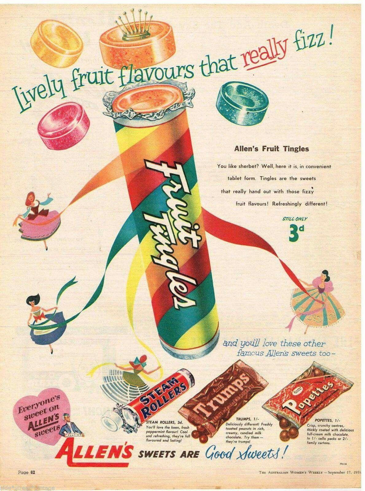 Allen's Fruit Tingles. Australian vintage, Vintage