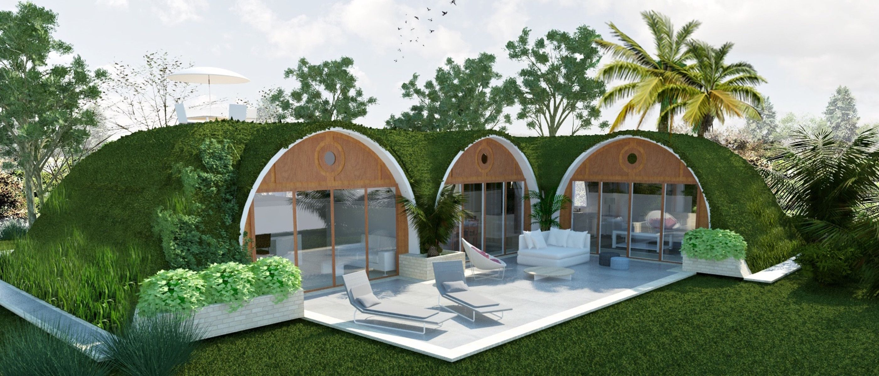 Green magic homes! Modular house under grass, gardens, sand, or ...