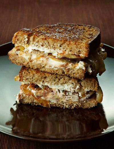 Fig and goat cheese sandwiches with caramelized onions ...