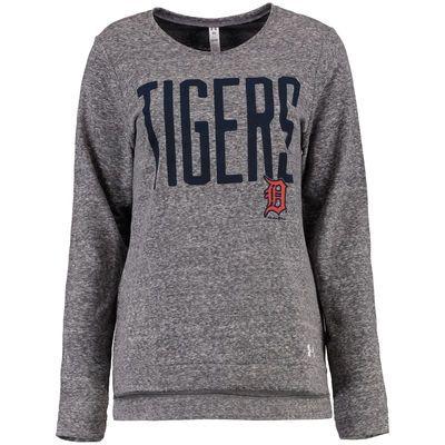 Women's Detroit Tigers Under Armour Heather Gray Terry Crewneck Pullover Sweatshirt