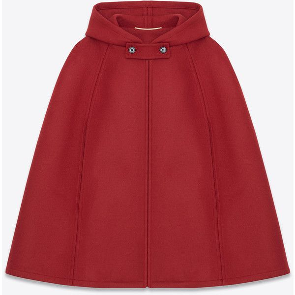Saint Laurent Hooded Cape In Red Wool (£1,100) ❤ liked on Polyvore featuring outerwear, jackets, skirts, coats, capes, red, red cape coat, red wool cape, hooded cape coat and woolen cape
