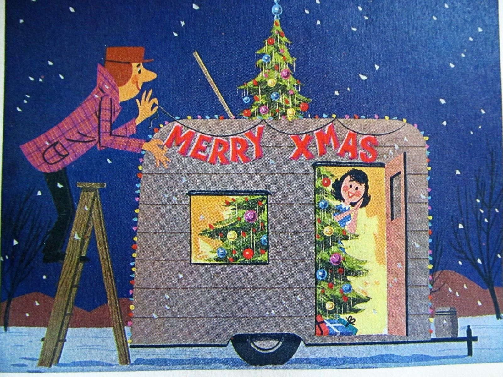 Vintage Christmas Card 1960s Couple Decorating Shasta Style Camper ...