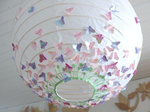 Lampe Papierlampe Schmetterlingswiese Rosa Pink Papierlampen Baby Diy Kinder Zimmer
