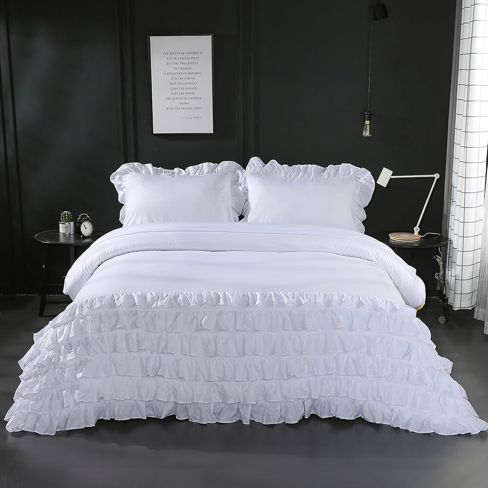 Famitile White Ruffle Decoration Bedding Duvet Cover Sets With