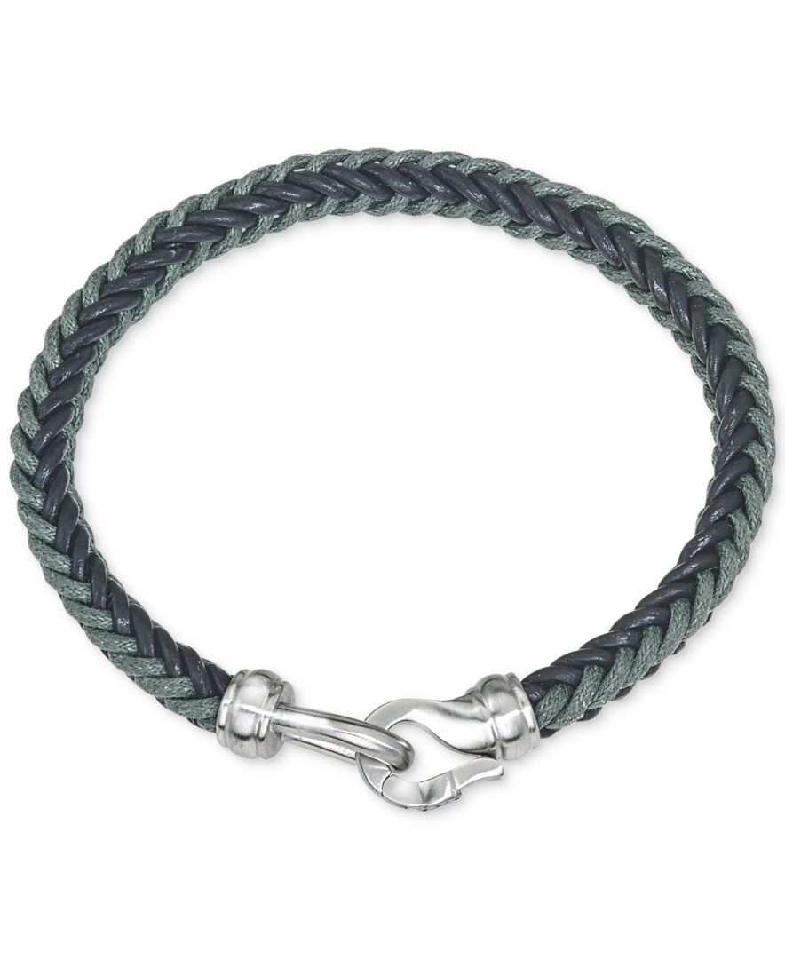 0a886721bd4f Esquire Men s Jewelry Woven Leather Bracelet in Stainless Steel