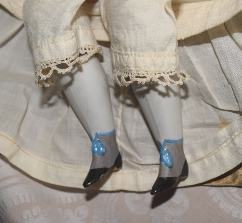 German Parian Bisque Fashion Lady Doll in Original Gown from joan-lynetteantiquedolls on Ruby Lane