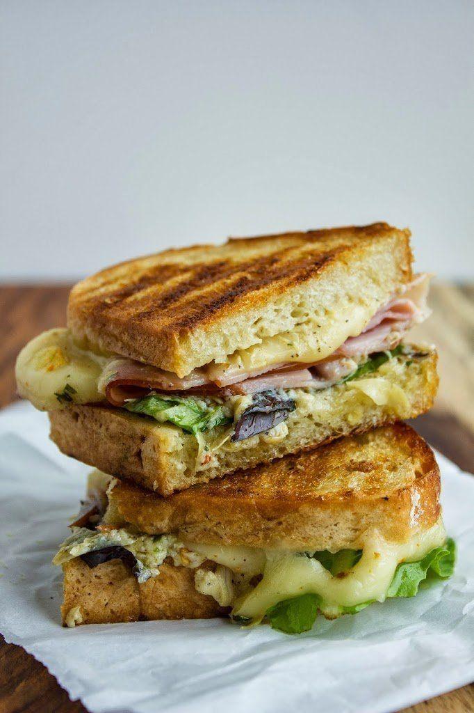 Grilled Ham, Cheese and Artichoke Lemon Pesto Sandwich @FoodBlogs