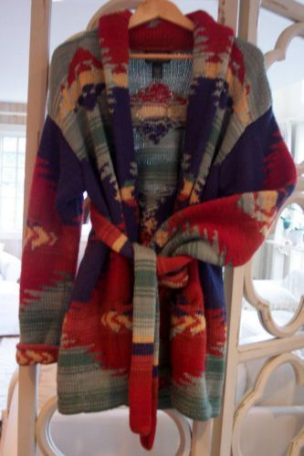 1a4466da57 Ralph lauren hand knit southwestern indian blanket aztec sweater coat…