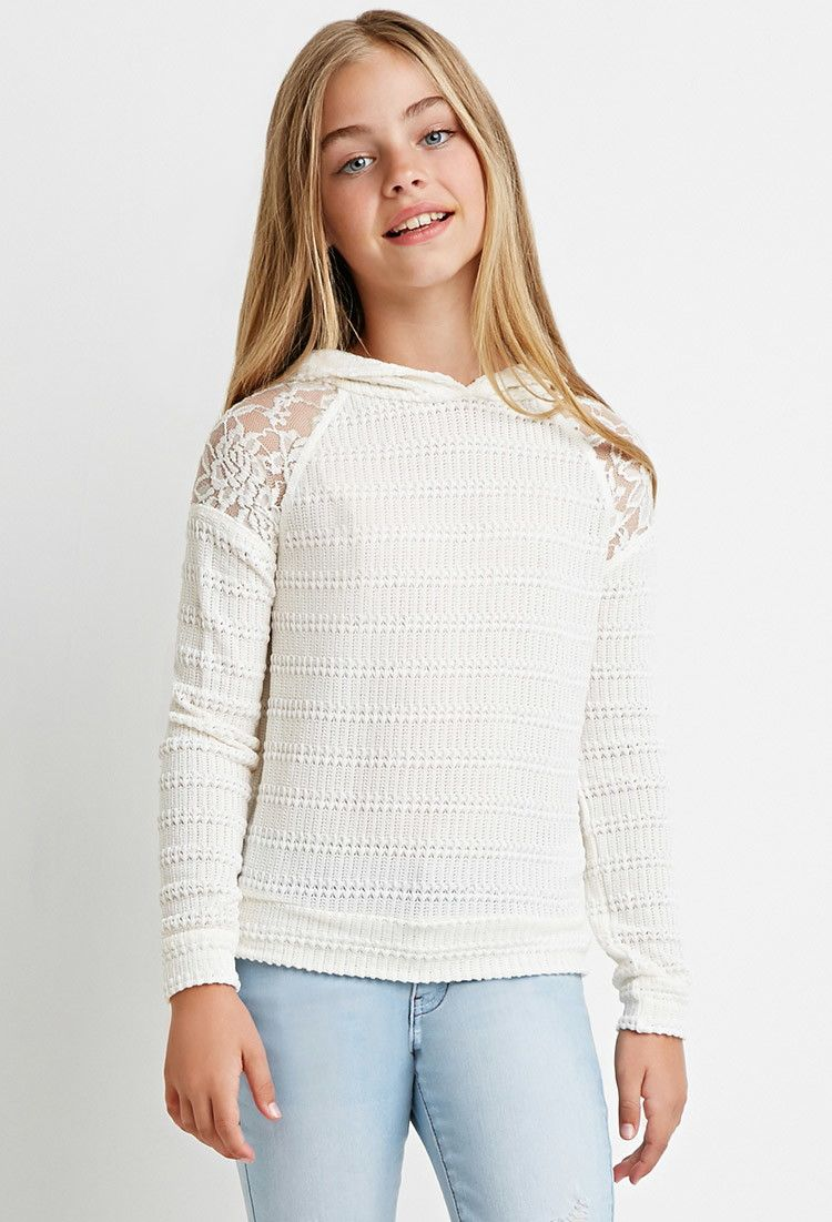 Girls Lace,Paneled Sweater Hoodie (Kids) · Forever 21