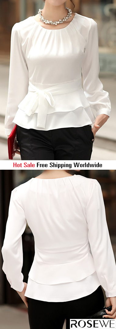 a516bba988f9a5 Layered Long Sleeve White Tie Front Blouse. New sign-ups get 5% off for all  first orders