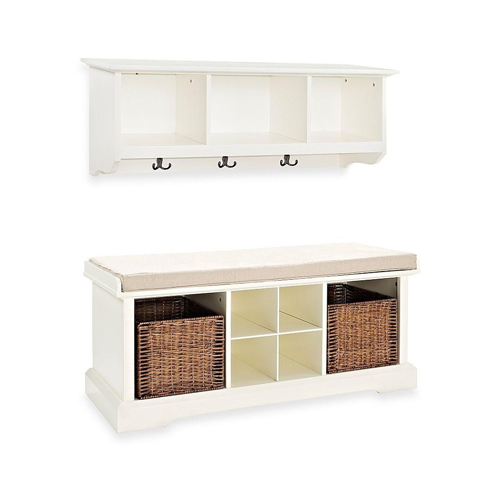 Crosley Brennan 2 Piece Entryway Bench Shelf Set In White In 2020 Entryway Bench Storage Entryway Storage Entryway Furniture